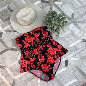 Venus Strapless Tankini Bandeau Bikini Rose Tie